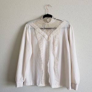Cottagecore lace puff sleeve vintage top